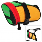 ROSWHEEL Cycling Bike Saddle Seat Polyester Tail Bag - Green + Yellow + Red
