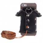 Plastic Back Case + PU Leather Jacket Accessory w/ Strap for Iphone 5 - Black + Grey + Silver