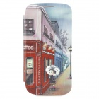 ENKAY Street Scene Pattern Protective PU Leather + Plastic Case for Samsung i9300 - Multicolored