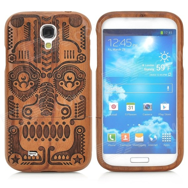 Stylish Totem Pattern Detachable Wooden Back Case for Samsung Galaxy S4 - Brown + Black