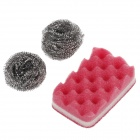 SHUNXING Multi-purpose Wire Brush + Sponge Brush Set - Silver + Red (3 PCS)