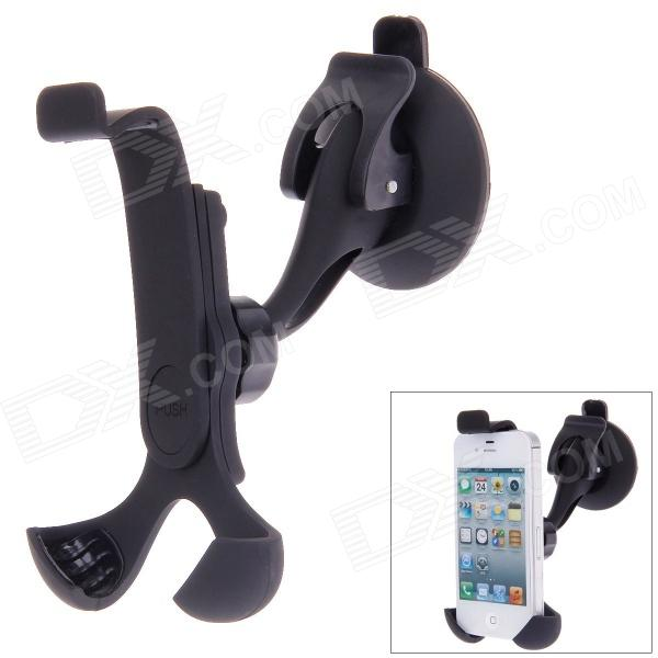 360 Degree Rotatable Car Holder Bracket w/ Suction Cup for Cellphone - Black jhd 12hd68 universal 360 degree rotatable car mount holder for cellphone black green