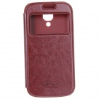 Protective PU Leather + TPU Back Case for Samsung Galaxy S4 Mini i9190 - Reddish Brown