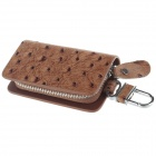 Ostrich Texture PU Leather Zipper Car Key Holder Case Bag - Brown