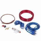 BOMOSI BMS8 500W Car Amplifier Audio Installation Wires Cables Kit - Red + Blue