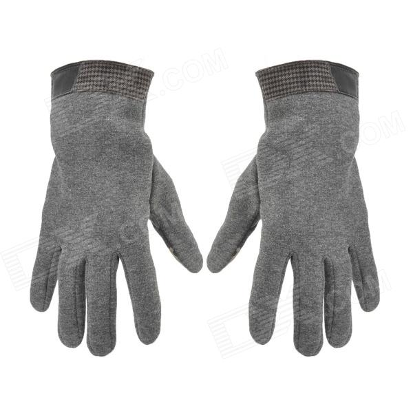OUFANDI Capacitive Screen Touching Hand Warmer Gloves - Grey + Silver White (Pair)