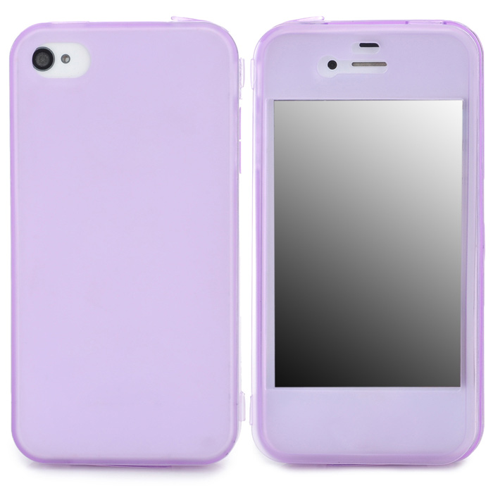 Protective TPU Case w/ Flip-Open Cover / Anti-Dust Cover for Iphone 4 / 4S - Purple protective pc tpu back case for iphone 5 w anti dust cover lavender purple