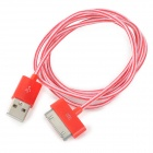 USB to 30-Pin Data / Charging Nylon Cable for iPhone 4 / 4S - Red + White