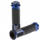 QC-H-286C Replacement Motorcycle Aluminum Alloy Mechanical Cutting Handle Grip - Black + Blue (Pair)