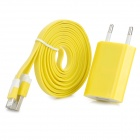 USB Male to Lightning Male Flat Cable + EU Plug Power Adapter for iPhone 5 - Yellow + White