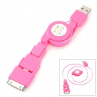 Retractable USB to 8-Pin Lightning / iPhone 30-Pin / Micro USB Data / Charging Cable - Deep Pink