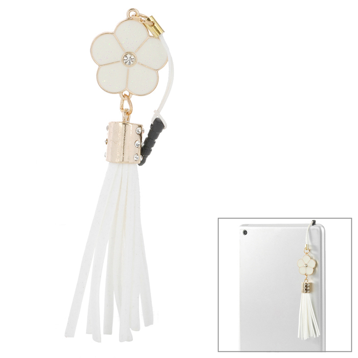 50121 Fashionable Flower Tassels Pendant Anti-dust Plug for Iphone 5 / 4S / Ipad 2 / 3 / 4 - White