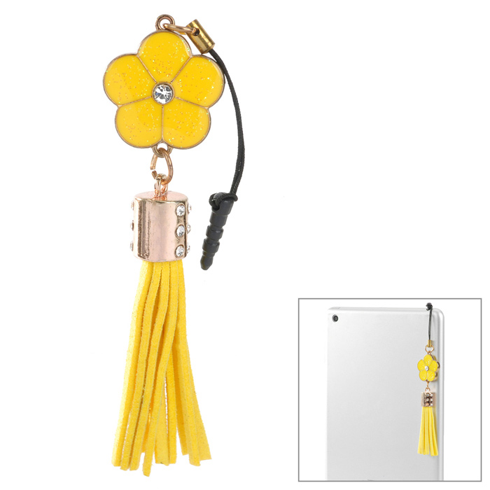 50123 Fashionable Flower Tassels Pendant Anti-dust Plug for Iphone 5 / 4S / Ipad 2 / 3 / 4 - Yellow