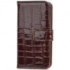 Crocodile Skin Style Protective PU Leather Case for Iphone 5 - Brown