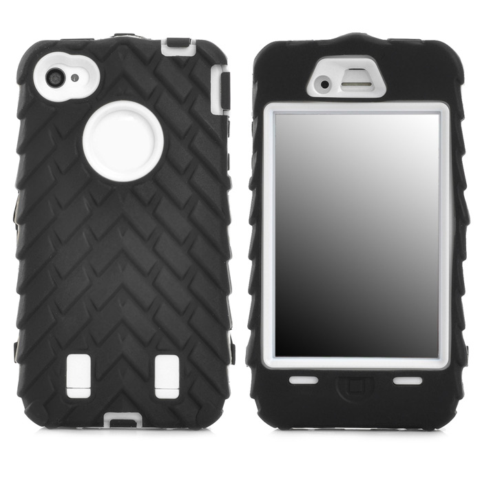 все цены на Detachable Protective Silicone + PC Case for Iphone 4 / 4S - Black + White онлайн