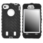 Detachable Protective Silicone + PC Case for Iphone 4 / 4S - Black + White