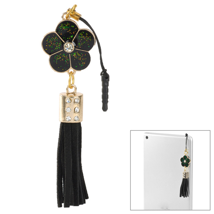 50125 Fashionable Flower Tassels Pendant Anti-dust Plug for Iphone 5 / 4S / Ipad 2 / 3 / 4 - Black