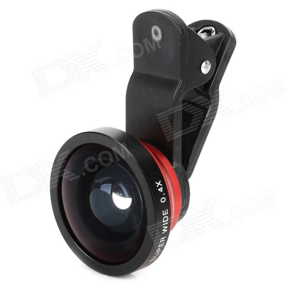 Universal Clip-on Style 0.4X Wide-Angle Lens for Cell Phones - Black + Red universal clip on 0 4x super wide angle lens w cell phone stand black gold