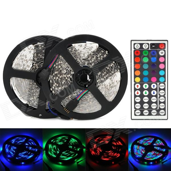 72W 3000lm 600-3528 SMD LED RGB Flexible Lamp Strip w/ 44-Key Controller (2 x 5m) - DX3528 SMD Strips<br>Brand N/A Quantity 1 piece(s) Color White + black Material Circuit board + PC Emitter Type 3528 SMD LED Chip Type Huga Total Emitters 600 Light Color RGB Input Voltage 12 V Power 72 W Luminous Flux 3000 lm Wavelength R~635nm G~530nm B~465 nm Connector Type N/A Waterproof No Application Interior decoration car decoration shopping malls counters indoor lighting etc. Other Features Viewing Angle: 120 degrees; IR remote controller; Effective distance: 7~8m; Input current: 6A; LED pitch: 16.6mm; Input voltage: DC 12V; Printed substrate thickness: 0.4mm; Lumen depreciation value: &amp;lt;3% @ 3000 hours; Storage temperature: -40~80C; Working temperature: -25~60C; With 3M adhesive tape Packing List 2 x RGB strip (each 5 meters) 1 x 44-Key controller (Built-in 1 x CR2025 battery) 1 x Connection cable (10cm) 1 x RGB control box (cable length: 10cm)<br>