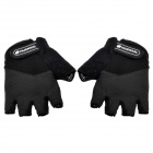 NUCKILY N2045 Outdoor Cycling Riding Half Finger Lycra Gloves w/ Protective Pad - Black (Pair M)