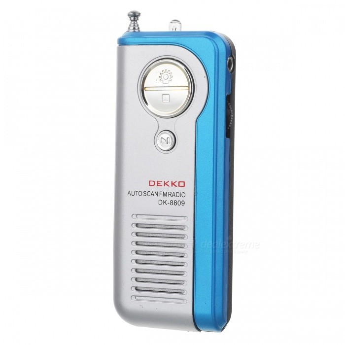 DEKKO DK-8809 Sports Mini Auto Scan FM Radio w/ Stereo Earphone - Silver + Blue + Black