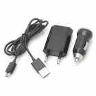 Y-B3 Car Charger + EU Plug Power Adapter + Data Cable Set - Black + Silver (100cm)