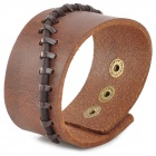 Fashionable Cool Punk Style Cow Split Leather Bracelet - Brown