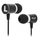 A6-A Stylish 3.5mm Plug In-Ear Music Earphone w/ Clip - Black + Silver
