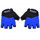 NUCKILY N2045 Outdoor Cycling Riding Half Finger Gloves with Protective Pad - Black + Blue (Pair XL)