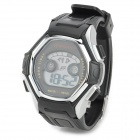 Sporty Heart Rate Monitor Digital Quartz Wrist Watch - Black + Silver (1 x CR2025)