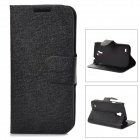 LXS9190 Flip-Open PU Leather Stand Case w/ Card Slots for Samsung Galaxy S4 Mini / i9190 - Black