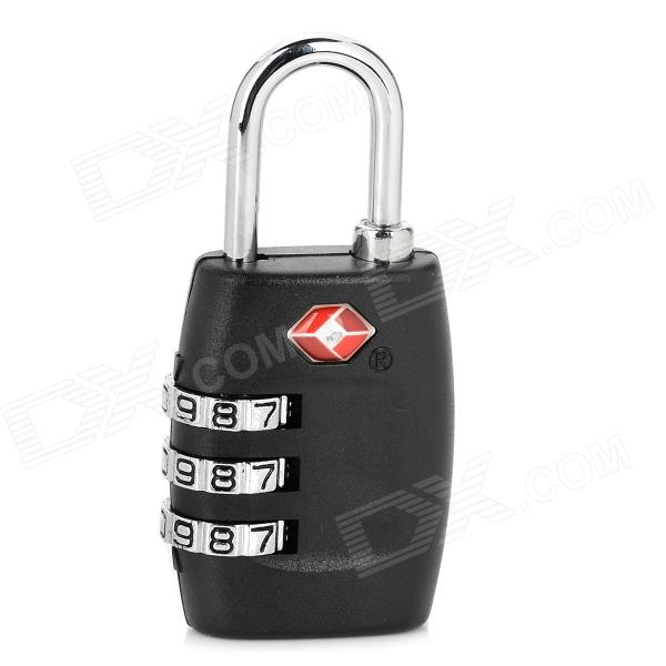 JUST TSA335 Mini Zinc Alloy Security 3-Digit Pin Combination Padlock - Black + Silver