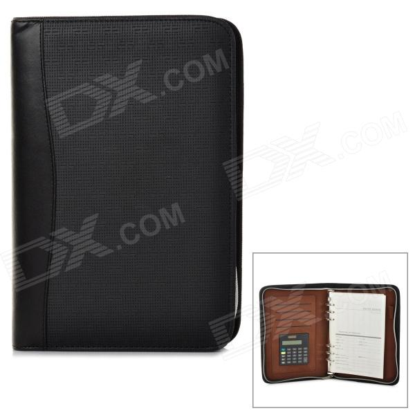ZHONGJIA ZJ-5922 Loose Leaf Notebook w/ 8-digit Calculator Artificial Leather Zipper Cover - Black