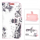 PU Leather Flower Printing Rhinestone Case for Samsung Galaxy S4 Mini -White + Purple + Pink
