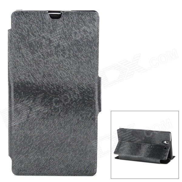 Protective PU Leather Flip Open Case for Sony L36h / Xperia Z - Black