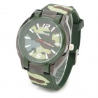 WoMaGe 612 Men's Cool Analogue Quartz Wrist Watch w/ Silicone Band - Camouflage (1 x AG4)