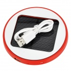 Round 5V 1800mAh Li-ion Polymer Battery USB Solar Power Charger for Cellphones + More - Red