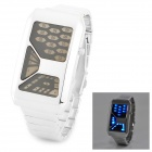 Stylish Multifunctional Binary System Number Quartz LED Digital Wrist Watch - Silver (1 x CR2032)