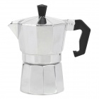 Small Aluminum Alloy Mocha Coffee Maker Pot w/ Black Handle - Silver