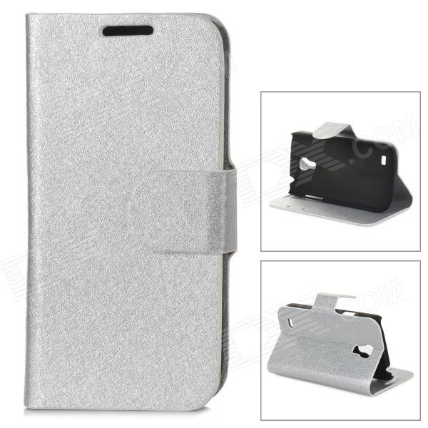 LXS9190 Flip-Open PU Leather Stand Case w/ Card Slots for Samsung Galaxy S4 Mini / i9190 - Silver it8712f s lxs
