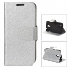LXS9190 Flip-Open PU Leather Stand Case w/ Card Slots for Samsung Galaxy S4 Mini / i9190 - Silver
