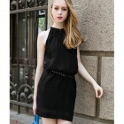 YLY-DXH406-553# Fashionable Sleeveless Halt Top Chiffon Dress w/ Waistband Belt - Black (Size L)