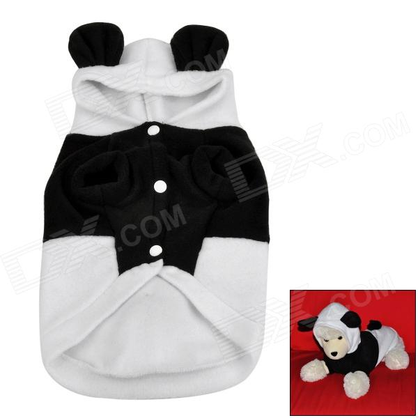 Cute Panda Style Fleece Clothes for Pet Dog - Black + White (L)