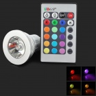 E14 3W 25lm 1-LED RGB Light Spotlight w/ Remote Control - Silver + White (Rated Voltage)