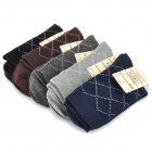 Men's Cozy Diamond Grid Cotton Socks - Navy Blue + Coffee + Gray + Deep Gray + Black (5 Pairs)