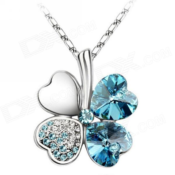 eQute PSWW124C5 Elegant Four Leaf Clover Pendant Necklace - Light Blue + Silver equte psiw3coot1 s925 sterling silver necklace cat s eye axe pendant chain white silver 16
