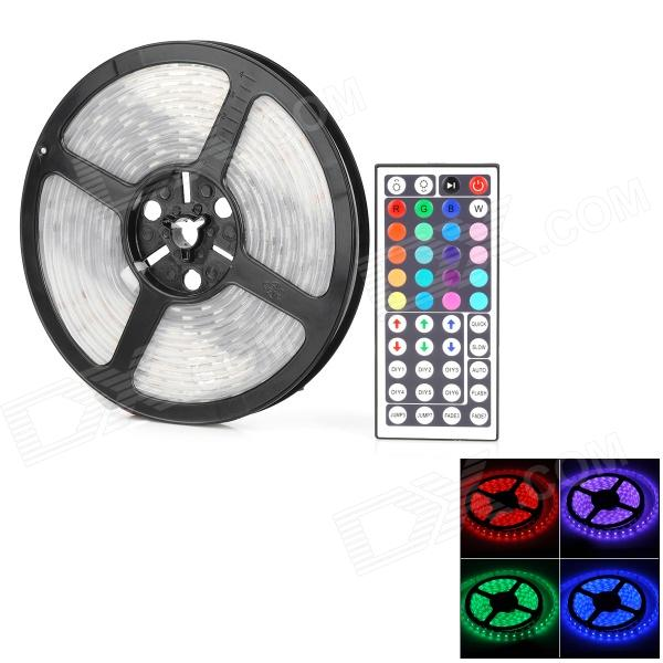 JZ-5050 72W 4300lm 300-5050 SMD LED RGB Light Strip w/ Remote Control - Black + White (5m)5050 SMD Strips<br>ModelJZMaterialGlassForm  ColorWhiteQuantity1Power2WChip BrandOthersEmitter TypeLEDTotal Emitters300Color BINRedColor TemperatureNoWavelength635Power AdapterOthersPacking List1 x Soft LED light strip 1 x 44-key remote control (1 x CR2025, included)<br>