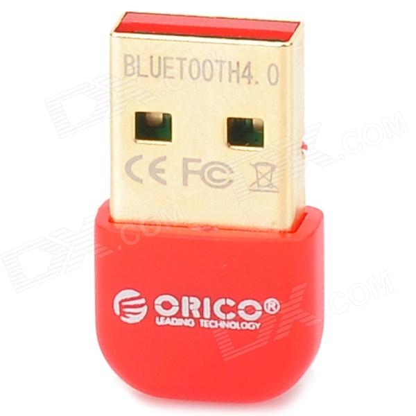 ORICO BTA-403-RD Mini CSR8510 Chipset Bluetooth V4.0 USB 2.0 Receiver - Red - DXBluetooth &amp; IrDA<br>Brand ORICO Model BTA-403 Quantity 1 Color Red Material Plastic Bluetooth Standard V4.0 USB Standard USB2.0 Operation Range 20 m Suitable Device Tablets and smart phones w/ bluetooth Data Transmission Rate 3Mbps BQB Certification No Supports System Windows XP/Vista/7/8 Mac Other Features Chip: CSR8510A10; Driving software: CSR Harmony Wireless Software Stack; Compatible w/ bluetooth 4.0 technical specification; Support 20m long distance transmission stable signal Packing List 1 x Bluetooth receiver 1 x Drive Disk<br>