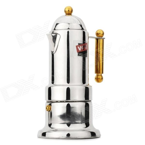 Stainless Steel Mocha Coffee Maker Pot w/ Golden Handle - Silver mini stainless steel handle cuticle fork silver
