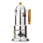 Stainless Steel Mocha Coffee Maker Pot w/ Golden Handle - Silver